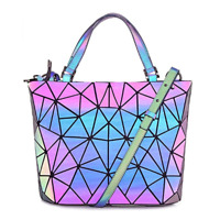 Geometric Handbag Luminous Women Tote Bag Holographich Purses and Handbags Flash
