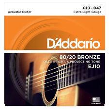 D ' Addario EJ10 80/20 bronce guitarra acústica cuerdas - Extra Light - 10-47