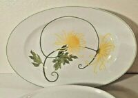 "Denby Portugal Dreaming yellow flower oval platter Glass Serving 14"" Tray 1974"