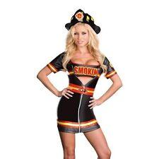 DREAMGIRL NEW Smokin Hot Firefighter Black Halloween Party Dress Costume S