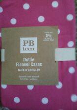 2 New Pottery Barn Teen Magenta Flannel Dottie Pillowcases polka dot