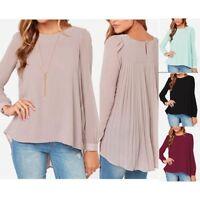 Women Irregular  Chiffon Casual Tops Blouse Shirt Pleated Oversize UK