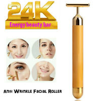 24k Gold Beauty Bar Facial Roller Face Skin Vibration Skincare Massager Device