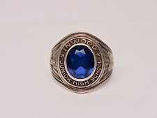 925 Sterling silver junior high school ring with blue sapphire stone