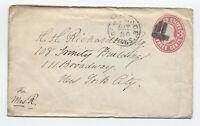 1860s Cambridge MA fancy cancel shield 3ct pink envelope [y3444]