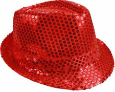 Unisex Fedora Hat RED Sequin Shiny Sparkle Cap Costume Prom Dance Party + GIFT