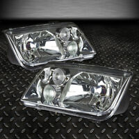 FOR 1999-2005 VW JETTA MK4 PAIR CHROME HOUSING CLEAR LENS HEADLIGHT W/FOG LAMP
