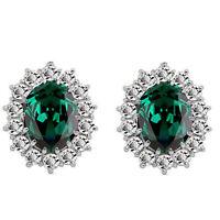 Luxury Silver & Emerald Green Zircon Queen Design Stud Earrings E853