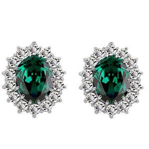 Stud Earrings Luxury Silver Emerald Green Zircon Queen Design Women E853