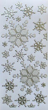 PEARL GLITTER SPARKLE SNOWFLAKES PEEL OFF STICKERS GOLD OR SILVER