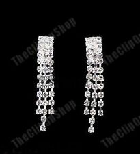 CLIP ON small CRYSTAL RHINESTONE sparkly EARRINGS diamante chandelier NO-PIERCE