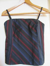 Black Red & Blue Stripe Oasis Vest or Bustier - Removable Straps Top in Size 8