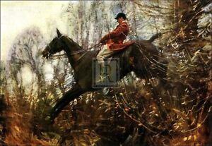 "SIR ALFRED MUNNINGS ""The Huntsman"" fox hunting HORSE! SIZE:50cm x 66cm"