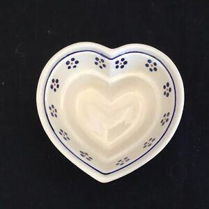 Boleslawiec Polish Pottery Heart Shaped Baking Dish Stoneware Blue Flowers 6x6