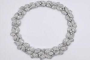 Flower-Heads CZ Encrusted Petals & Brilliant Shaped 152.03CT White CZ Necklace