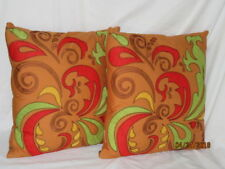 """Set of 2 PIER 1 16"""" THROW PILLOWS Colorful Red Green Brown Paisley Sienna Tan"""