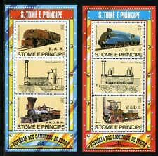 St. Thomas & Prince Scott #687 MNH S/S History of Railroads TRAINS $$