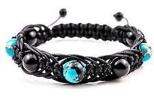 Amulet Arachna Handmade Men's Beaded Stone Bracelet Agate Turquoise and Jasper