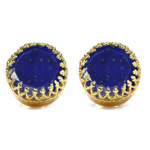 Natural Lapis Lazuli Faceted Round Shape 18K Gold Plated Gemstone Blue Earrings
