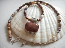 DTR Jay King Sterling Silver Agate Stone Necklace W/ Pendant  927601