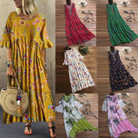 Women Vintage Floral Print O-Neck Patchwork Beach Dress Long Sleeve Long Dress U