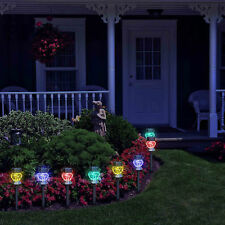 8 x Diamond Colour Changing Solar Powered LED's Stake Light Garden Patio Outdoor