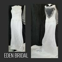 Eden Bridal Gown Lace Floral Embellished Beads Strapless w/  Train & Vail