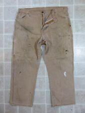 Dirty DICKIES Brown PANTS Mens 42x32 Cell Phone Pocket Work Wear Canvas Punk