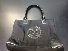 Tory Burch Ella Nylon & Patent Leather Tote Black Handbag Purse Medium
