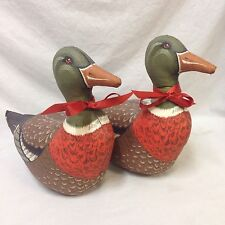 Lot of 2 Stuffed Mallard Duck Pillows Cabin Decor Completed Cloth Fabric Craft