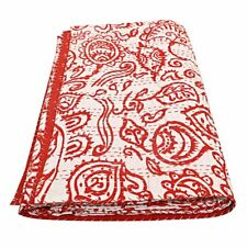 Indian Floral Cotton Kantha Quilts Queen Hand Block Print Bedding Bedspread ~~