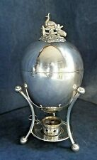 SUPERB Complete ~ SILVER Plated ~ Egg CODDLER with PEACOCK  Finial ~ c1900