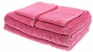 NEW White Dove Classic Value 6 pc Bath Towel Set 2 Bath 2 Hand 2 Wash Cloth Pink