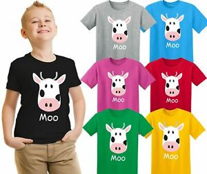 Childrens Moo Cow Animal T-Shirt Farm Boys Girls Gift Kids Top Tee