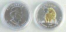 Kanada / Canada 5 Dollars 2011 Wildlife Timberwolf 1 oz Ag / Silber vergoldet st