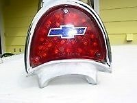 57 CHEV BELAIR RED LED TAIL LIGHTS WITH BLUE BOWTIE SHOW FOOSE STYLE HOTROD RAT