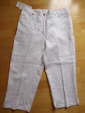 ★ ULLA POPKEN ★ 44 ~ weiß  Stylische Hose ~ fester Bund ~ Capri ~ 100% Leinen