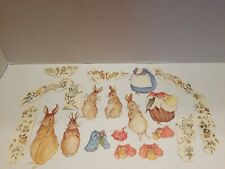Lot Of 20 Embossed Rabbit And Friends Pre Cut Paper Doll Cut Outs