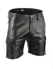 echt leder hose,Real leder Cargo shorts Glattes leder Shorts,kurze lederhose