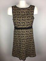 Max Studio Womens Sz XS Sheath Dress Brown Black Floral Sleeveless Lined