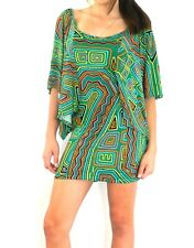 Tunic Maxi Dress Short Top Green Tribal Sleeve Geometric M/L 12 14 16 New SALE