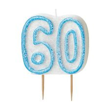 """3.5"""" Blue Sparkle 60th Birthday Glitter Cake Decoration Molded Candle"""