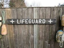 48 INCH WOOD HAND PAINTED LIFEGUARD SIGN NAUTICAL SEAFOOD (#S283)