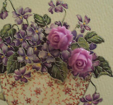 2 Cameo Rose Buttons~Vintage Cameos~Acrylic 15mm~Lavender Rosebuds~