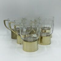 Vintage Glass Coffee Cup Mug With Metal Base Handle Gold Tea Irish Coffee