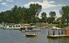 WINONA MN Small Boat Harbor Marina Hiawatha Valley Gas Pumps House Boat postcard