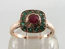COMBO 9CT 9K ROSE GOLD RUBY  & EMERALD ART DECO INS RING FREE SIZE