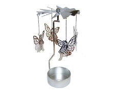 Metal Sitting Fairy Tea Light Powered Carousel Spinning Candle Holder S20