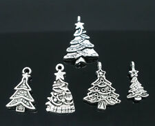 10 x  MIXED CHRISTMAS TREE CHARMS  - SILVER TONE - SAME DAY POSTAGE