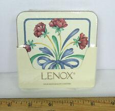 "Set Of 4 New Sealed Vtg Lenox Poppies On Blue Hardboard Coasters 4 1/8"""